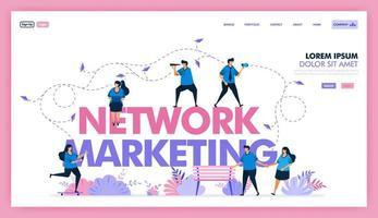 marknadsföringsnätverk för att utbyta information och sälja produkt-, seo- och onlinemarknadsföring för att öka försäljningsvärde och vinst, använda sociala medier med reklam- och annonsinnehåll. platt illustration vektor design.