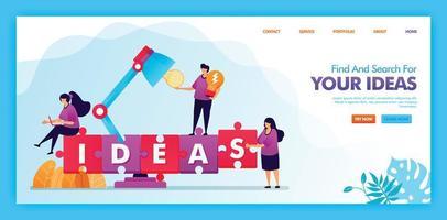 Zielseiten-Vektor-Design zum Finden und Suchen Ihrer Ideen. einfach zu bearbeiten und anzupassen. modernes flaches Designkonzept von Webseite, Website, Homepage, mobilen Apps ui. Charakter Illustration flachen Stil. vektor