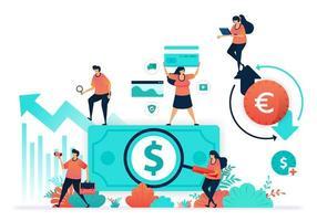 Zirkulation in der Unternehmensfinanzierung, ordnungsgemäße Rechnungslegung, Erhöhung des Investitionswerts, Finanzumsatz im Devisenhandelssystem des Umtauschs von Dollar in Euro, Geldwechsler, Anlageberater