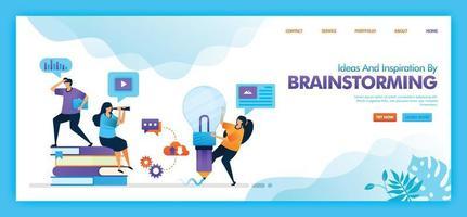 Zielseiten-Vektor-Design von Ideen und Inspiration durch Brainstorming. einfach zu bearbeiten und anzupassen. modernes flaches Designkonzept von Web, Website, mobilen Apps ui. Charakter Cartoon Illustration flachen Stil.