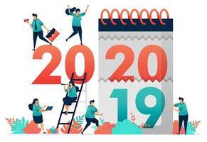 Änderung der Arbeitsjahre von 2019 bis 2020. Erraten Sie die Beschäftigungsaussichten im nächsten Jahr, analysieren Sie das potenzielle BIP für ein Land im Jahr 2020 in einem Jahr auf Jahresbasis oder im Jahresvergleich. Neueinstellung von Absolventen Anfang 2020 vektor