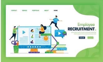 anställd rekrytering målsida grön vektor koncept med platt seriefigur och ikon. hemsidesdesign kan användas för målsida, webb, mobilappar ui, affisch, flygblad, marknadsföring, marknadsföring.