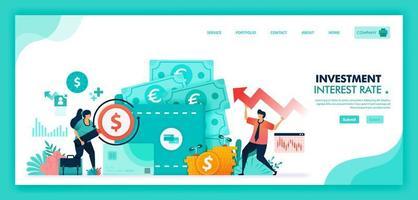 spara pengar i tidsdeposition, bank och plånbok, höja räntorna för att förbättra ekonomin, bankinvesteringar med finansiella produktfonder och valutamarknaden. platt illustration vektor design.