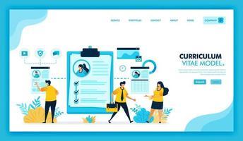 Online-Lebenslauf und Online-Lebenslauf, um sich zu registrieren und Arbeit im Unternehmen zu finden. Plattform für die Arbeitssuche oder offene Stellen für frisch Absolventen und Arbeitssuchende. flache Illustration Vektor-Design. vektor