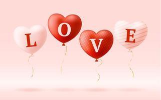 älskar ord på realistiska hjärtballonger vektor