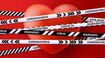 rotes Valentinstag Liebesherz und Quarantäne Biohazard Gefahr