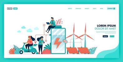 grön energi och mer miljövänlig källa, vilket sparar batteri och jord med ren energi, framtida smart energi med väderkvarn, kärnkrafts- och solpaneler. platt illustration vektor designkoncept.