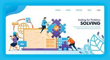 målsidesvektordesign av kodning för problemlösning. lätt att redigera och anpassa. modernt platt designkoncept av webbsida, webbplats, hemsida, mobilappar. karaktär tecknad illustration platt stil.