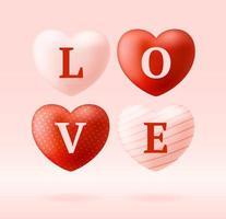 Liebeswort auf realistischen Herzen vektor