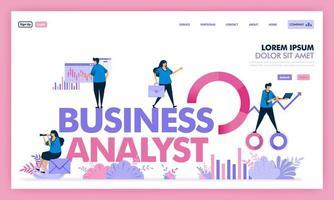 Menschen analysieren Probleme in Unternehmen, um Lösungen zu finden, Business Analysten Job in Industrie 4.0, berechnen und bewerten soziale Probleme zu Unternehmensgewinnen in Einhorn-Startup. flache Illustration Vektor-Design. vektor