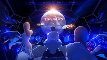 Der Kommandantenraum im Raumschiff der Kolonie mit den anderen Raumflotten ist gerade erfolgreich am exoplanetaren Ziel angekommen vektor