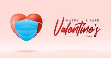 niedliches realistisches rotes Herz mit blauem medizinischem Masken-Valentinsgrußkartenbanner