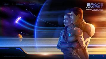 Umarmung eines Paares im Raumschiff der Kolonie auf der langen Reise in die neue Welt