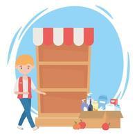 Kerl mit ausverkauftem Regal und Pappkarton voller Lebensmittelüberschusskauf vektor