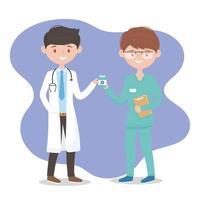männlicher Arzt und Krankenschwester mit Medizinflasche, Ärzte und ältere Menschen vektor