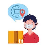 kund man beställa världshandel online shopping covid 19 coronavirus vektor