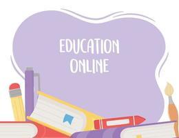 Online-Bildung, Bücher Buntstift Bleistift vektor