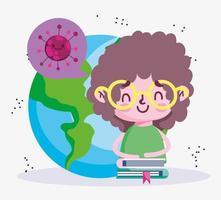 Bildung online, Studentenjungenwelt und gestapelte Bücher, Coronavirus-Pandemie