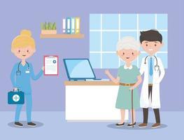 Arzt Krankenschwester und Oma mit medizinischem Bericht, Ärzten und älteren Menschen vektor