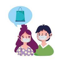folk beställer digital e-handel online shopping covid 19 coronavirus vektor