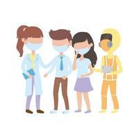 Covid 19 Coronavirus-Pandemie, Patienten und Ärzte professionell mit Schutzmasken Zeichen