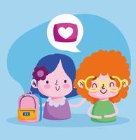 Bildung online, Studenten Mädchen und Jungen mit Rucksack