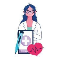 isolerad kvinna läkare och smartphone vektor design