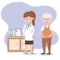 Ärztin und Opa mit Medizin und vektor
