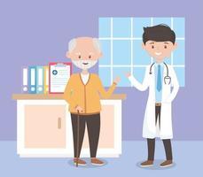 junger Arzt und alter Mann im Zimmerkrankenhaus, Ärzte und ältere Menschen vektor