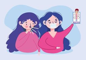 kvinnor man läkare och smartphone vektor design