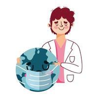 isolerad man läkare och världen med maskvektordesign vektor