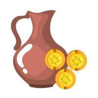 jüdische Münzen mit goldenem Stern Chanukka und Teekanne vektor