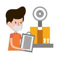 logistisk leverans man vikt e-handel online shopping covid 19 coronavirus vektor