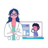 isolerad kvinna läkare och laptop vektor design