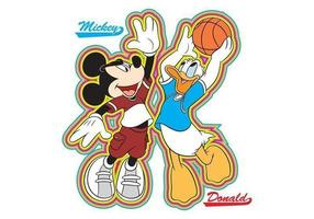 Mickey und donald basketball vektor