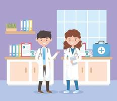 kvinnliga och manliga läkare professionella personal konsultationsrum, läkare och äldre människor vektor