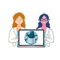 kvinnliga läkare bärbar dator och värld med maskvektordesign vektor