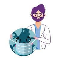 isolierter Mann Arzt und Welt mit Maskenvektorentwurf