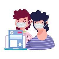 isolerade män med masker dokument och laptop vektor design