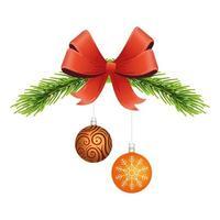 Frohe frohe Weihnachtskugeln in Tannenzweig und Bogen vektor