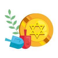 Münze mit jüdischem goldenen Stern Chanukka und Dreidel vektor