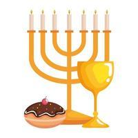 Hanukkah Kronleuchter golden mit Kelch und süßem Donut vektor
