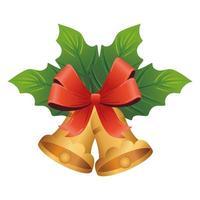 goldene Weihnachtsglocken mit Blattpflanze und Bogen vektor