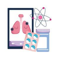 Smartphone Lungen und Covid 19 Virus Vektor Design
