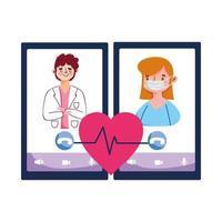 isolierte Mannarztfrau mit Maske und Smartphone-Vektorentwurf