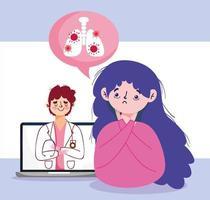 kvinna med trötthet man läkare och bärbar datordesign vektor