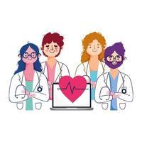 Frauen und Männer Ärzte mit Laptop-Vektor-Design