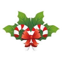 Weihnachts dekorative Blätter mit süßen Stöcken und rotem Schleifenband vektor