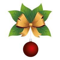 Frohe Weihnachten rote Kugel und goldene Schleife in Blättern vektor