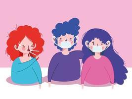 kvinnor och man med masker och torr hosta vektor design